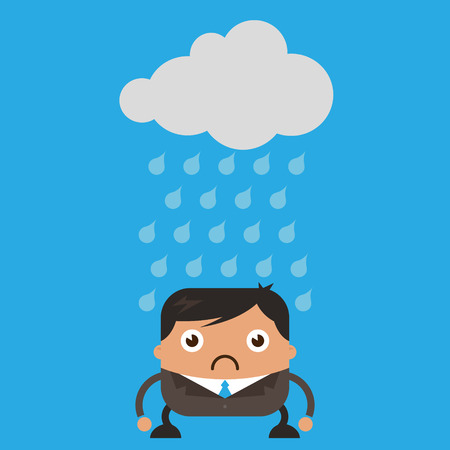 raining: Illustration of cloud raining on sad business man