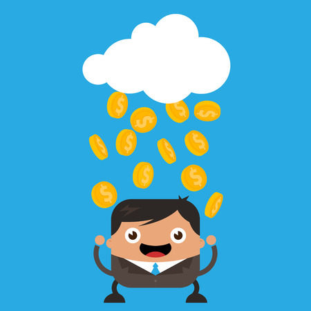 Illustration of cloud raining gold coins on happy business man Vector
