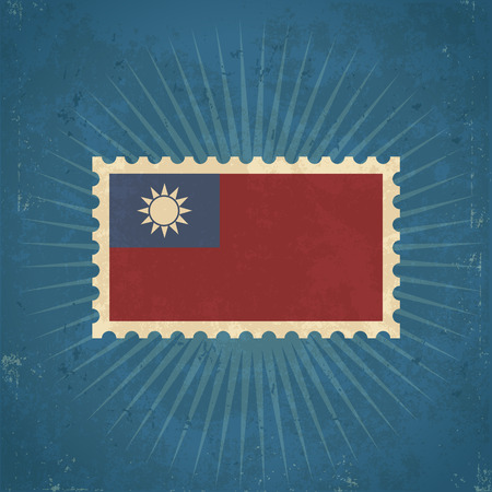 Retro grunge Taiwan flag postage stamp illustration