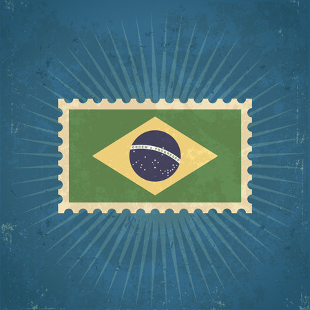 Retro grunge Brazil flag postage stamp illustration Vector