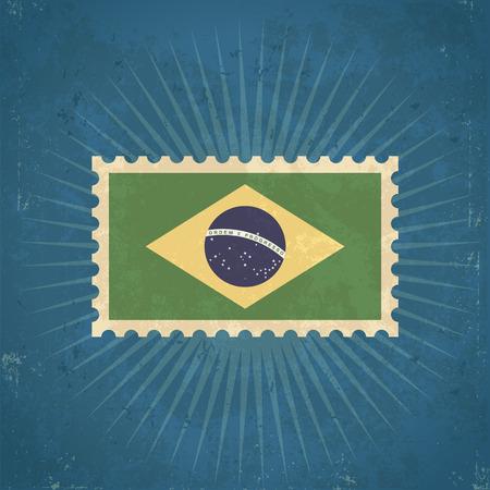 Retro grunge Brazil flag postage stamp illustration