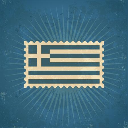 greece stamp: Retro grunge Greece flag postage stamp illustration