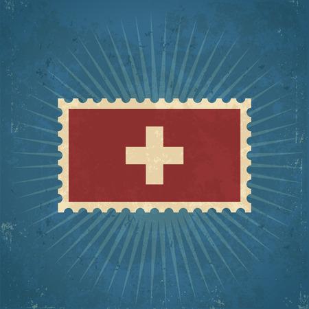 Retro grunge Switzerland flag postage stamp illustration