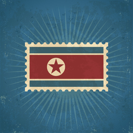 Retro grunge North Korean flag postage stamp illustration