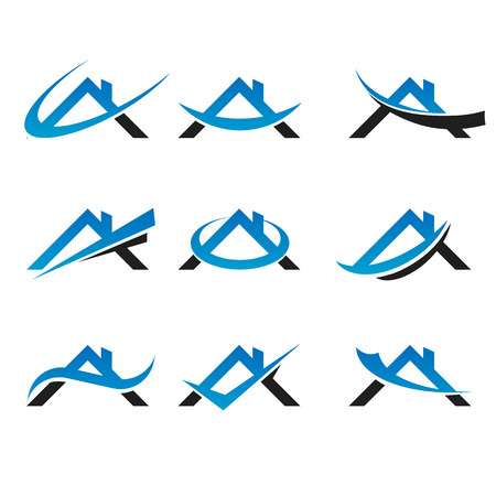 Set of real estate icons with roof and swoosh graphic elements 일러스트