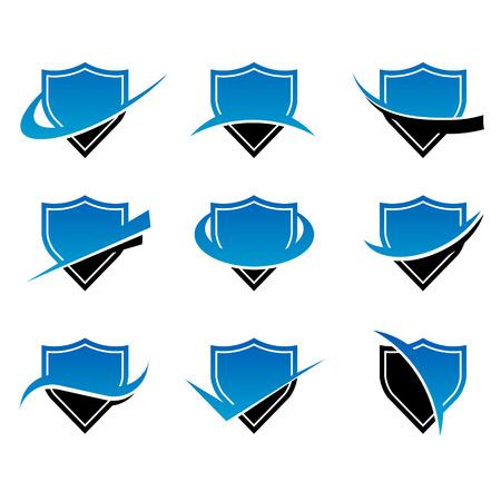 blue shield: Set of shield icons