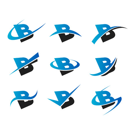 letter b: Set of icons with the letter B Illustration