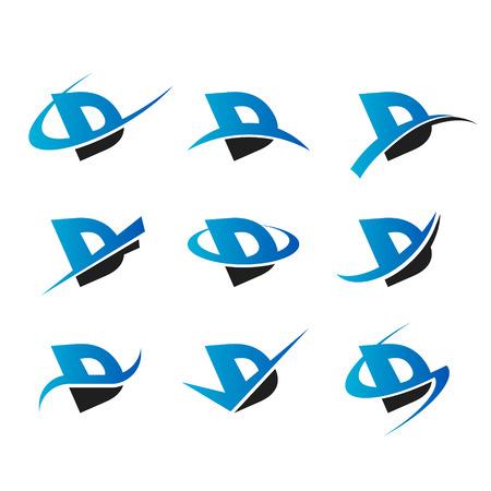 Set van iconen met de letter D Stock Illustratie