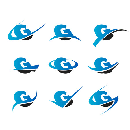 g alphabet: Set of icons with the letter G Illustration