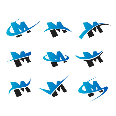 Set of icons with the letter M