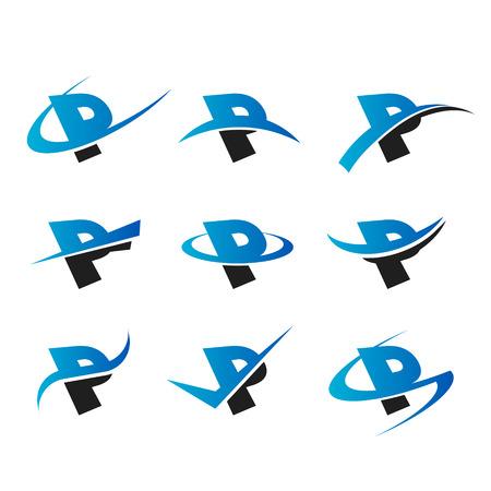 Set of icons with the letter P Ilustração