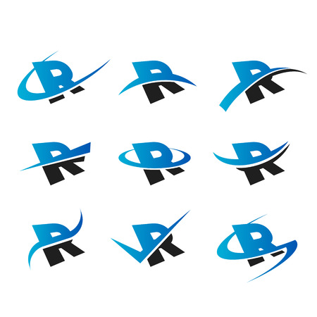 letter R: Set of icons with the letter R Illustration
