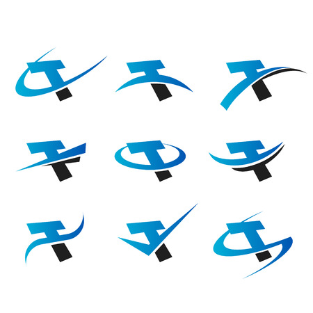 Ensemble d'icônes avec la lettre T Banque d'images - 28346924