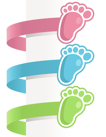 Decorative baby shower labels with baby feet