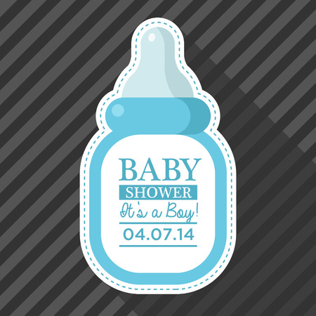 baby: Baby shower invitation with baby bottle