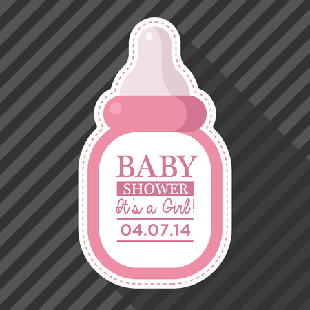 cute baby girls: Baby shower invitation with baby bottle