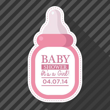 teteros: Invitación de la ducha de bebé con biberón