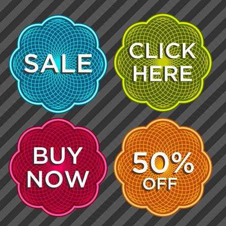 click here: Set of sale and discount stickers Illustration