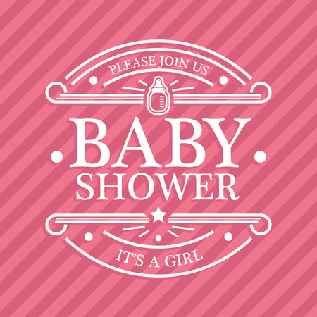 Pink baby shower invitation card for girls Vector