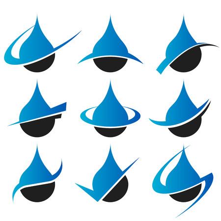 Set of raindrop icons with swoosh graphic elements Illustration