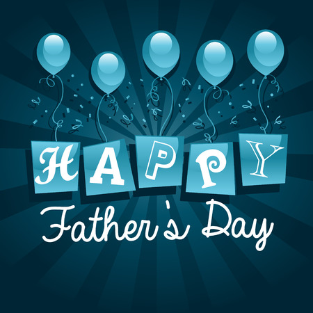 Happy fathers day greeting card with balloons Vector