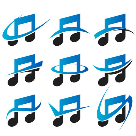 Set of music icons with swoosh graphic elements