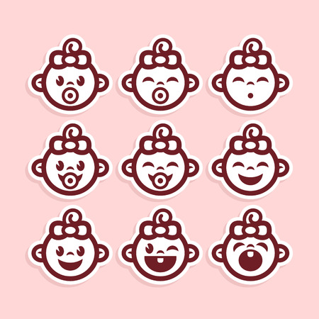 Set of cute pink baby girl icons Vector