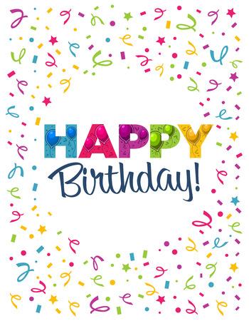 Tarjeta de felicitación de cumpleaños con globos de fiesta Foto de archivo - 35777401