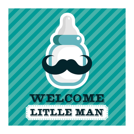 Blue baby shower greeting card with mustache baby bottle