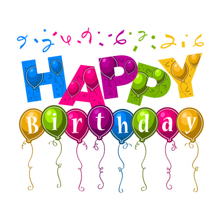 text background: Birthday greeting card with party balloons
