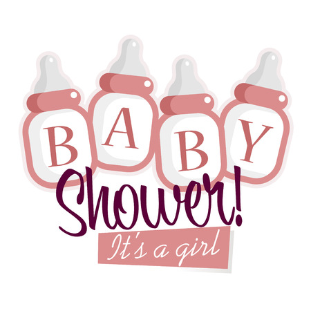 Pink baby shower decoration with baby bottles
