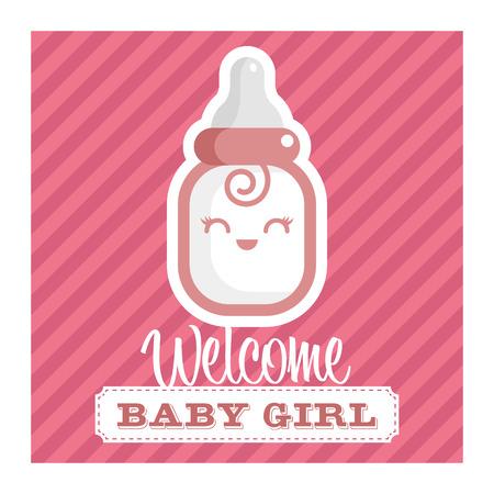 Roze baby shower wenskaart met lachende baby fles Stock Illustratie