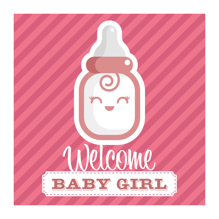 Pink baby shower greeting card with smiling baby bottle Vectores