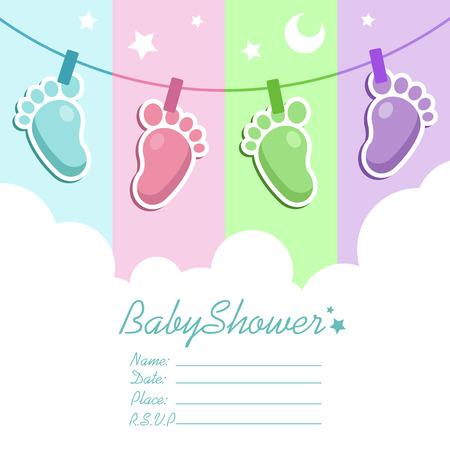 아기 발 아기 샤워 초대장 인사말 카드