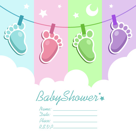 new baby: baby shower invitation greeting card with baby feet