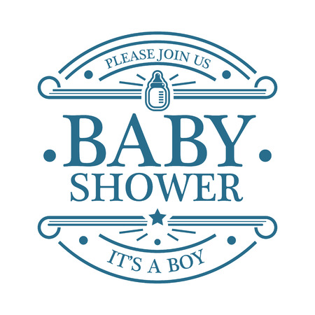 Blue baby boy shower invitation emblem isolated on white