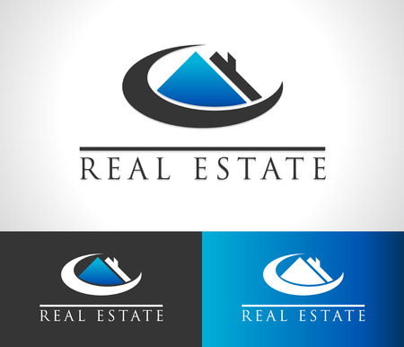 simple logo: Real estate icon with roof and swoosh graphic element
