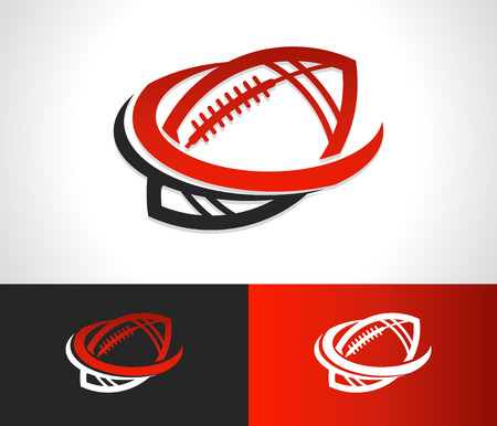 American football logo icon with swoosh graphic element
