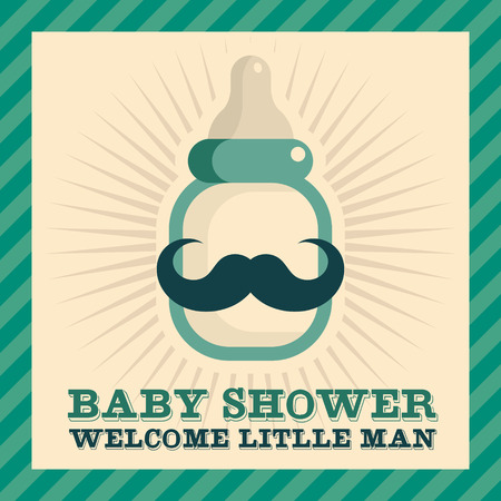 milk mustache: Baby shower greeting card with mustache baby bottle Illustration