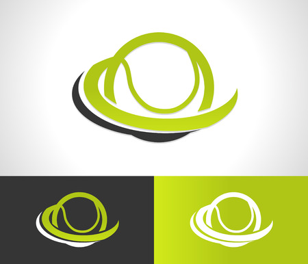 Tennis ball logo icon with swoosh graphic element