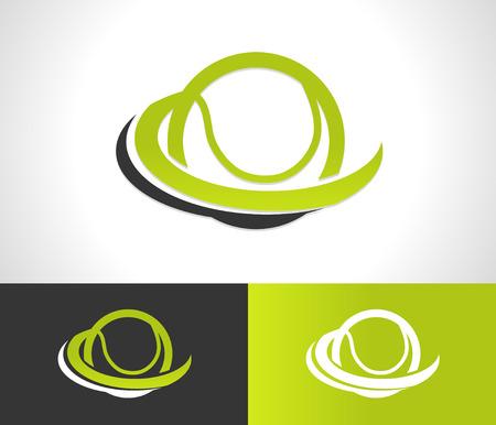 Tennisbal logo icoon met swoosh grafisch element Stock Illustratie