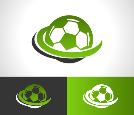 sports balls: Soccer ball logo icon with swoosh graphic element