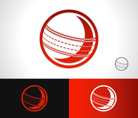 cricket ball: Traditional cricket ball logo icon