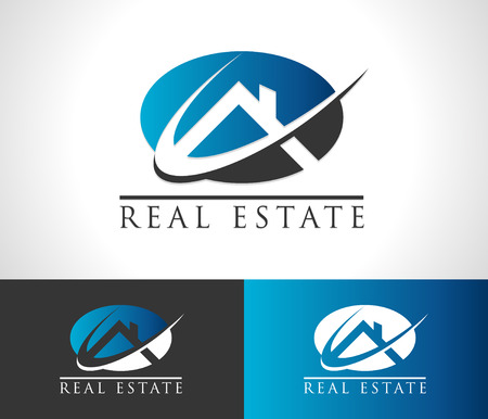 Real estate logo icon with roof and swoosh graphic element Vectores