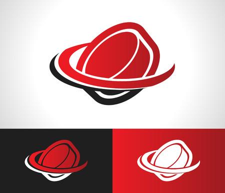 Hockeypuck logo icoon met swoosh grafisch element