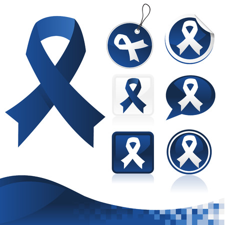 awareness ribbons: Dark Blue Awareness Ribbons Kit Illustration