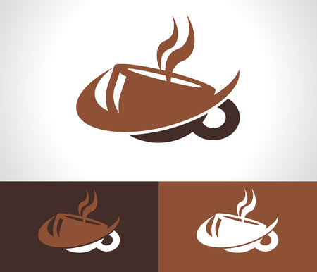 Coffee cup logo icon with swoosh graphic element