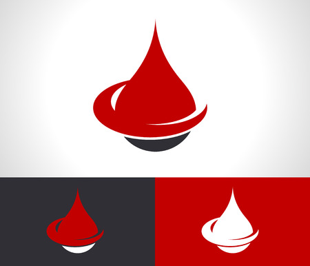 Donate blood drop logo icon with swoosh graphic element
