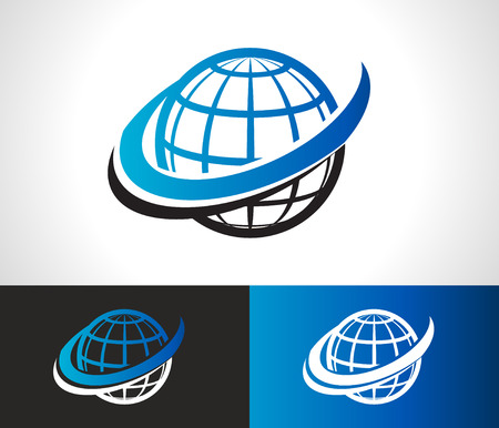 world icon: World logo icon with swoosh graphic element Illustration