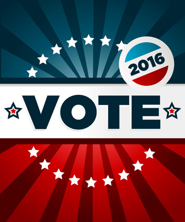 vote: Patriotic 2016 voting poster with banner and button